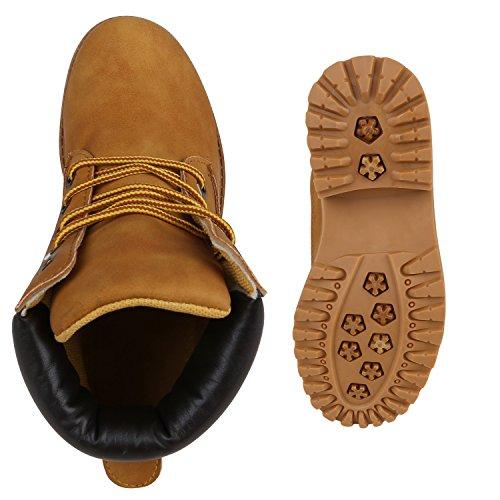Stiefelparadies Kinder Mädchen Jungen Stiefeletten Worker Boots Warm Gefüttert Profilsohle Schuhe Flandell Hellbraun