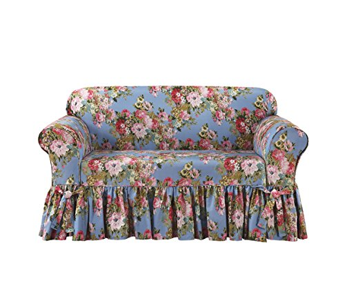 Sure Fit Juliet by Waverly One Piece Loveseat Slipcover - Chambray