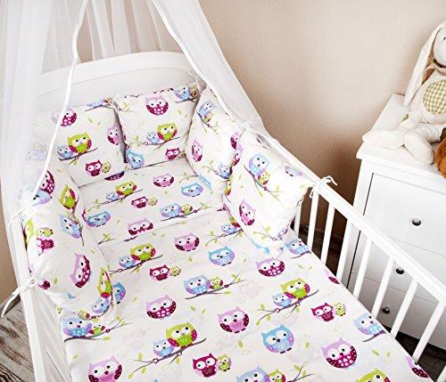 Baby Bettwäsche Design: Eule weiß Nestchen Bettset 100x135 für ...
