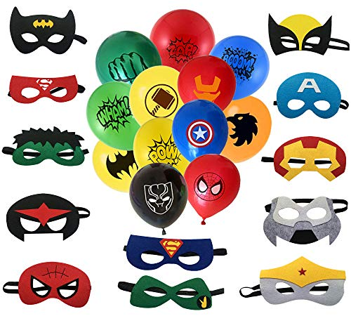 NF Orange Superhero Masks, Superhero balloon. 12 Balloons 12 inch, 12 Masks. Party Favors for Kids. Birthday Supplies.]()