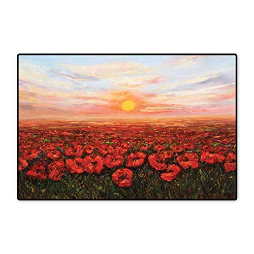 (Flower Bath Mats for Floors Wild Opium Poppy with Petals Field in Front of Sunset Artistic Picture Customize Door mats for Home Mat 24