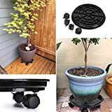"Skelang 3 Pcs Plant Caddy, 11.8"" Plant Stand, Round Plant Pallet Pot with Lock Wheels, Rolling Tray Planter Trolley Casters, Moving Plant Pot Saucer for Patio, Garden, Indoor"