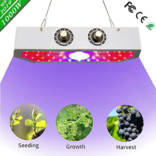 2019 Newest 1000W LED Grow Light Full Spectrum Lamp, Indoor Grow Lights for Veg and Flower Plants, Double Adjustable Knobs Plant Light for Greenhouse(Double-chip 10W LEDs)