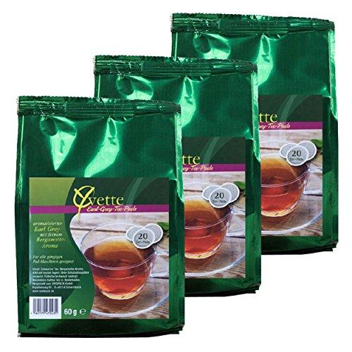 Yvette Earl Grey Teepads, Teebeutel, Schwarzer Tee, auch für Senseo, 3 x 20 Pads