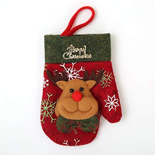 Mydufish 1Pc Christmas Gloves Stockings Socks Silverware Holder Santa Claus Pocket Xmas -