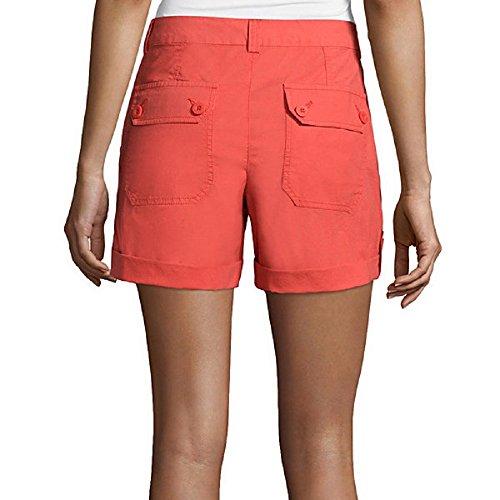 Liz Claiborne Roll-Cuff Cargo Shorts Size 16 Cranberry