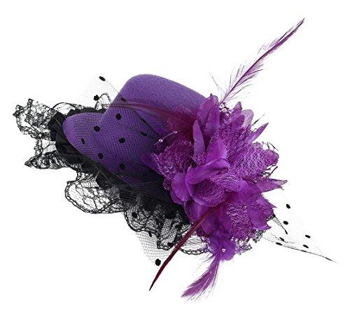 Gemvie Girls Flower Lace Feather Fascinator Hair Clip Mini Top Hat Purple (Top Hats Fancy Dress)