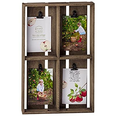PRINZ Farmhouse 4 Opening 4x6 Crate Collage - Wood collage Displays four of your favorite 4x6 photos Metal clips - picture-frames, bedroom-decor, bedroom - 51f9o6E1XGL. SS400  -