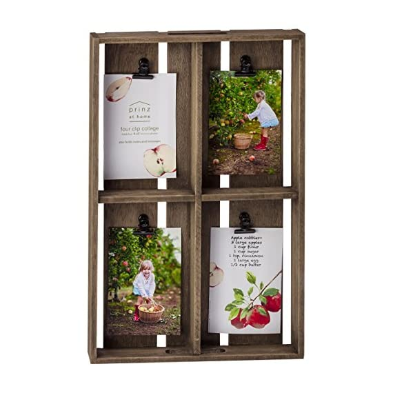 PRINZ Farmhouse 4 Opening 4x6 Crate Collage - Wood collage Displays four of your favorite 4x6 photos Metal clips - picture-frames, bedroom-decor, bedroom - 51f9o6E1XGL. SS570  -