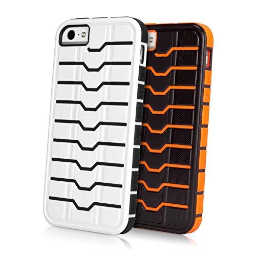 Coque Iphone se, BoxWave® [platemail Étui avec chargeur Porte-clés Bonus] deux ton rigide Shell Housse Coque W/SE, bords renforcés pour Apple iPhone 5S, 5–Noir/Orange
