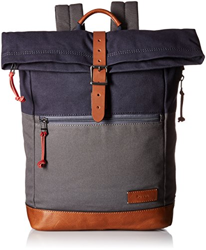 Fossil Men's Defender Rolltop Backpack, Navy/Grey Fossil Top