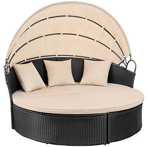 Devoko Outdoor Patio Round Daybed 4 Pieces Wicker Rattan Furniture Sets All-Weather Seating Sofa Lawn Garden Backyard Daybed with Retractable Canopy (Black) (Outdoor Cushions Bed Lounge)