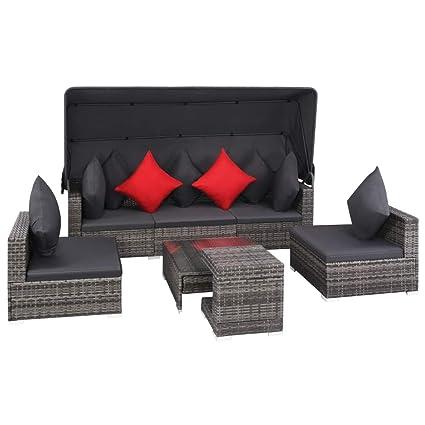Amazon.com : 23 Pieces Outdoor Sofa Set with Canopy, Lightweight ...