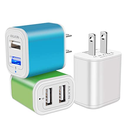 Charger Base, USB Brick, Ailkin 3Pack High Speed Charging Blocks USB Outlet Plug Charger Base Box Cube Plug Compatible with iPhone, LG, Sony, Samsung, ...