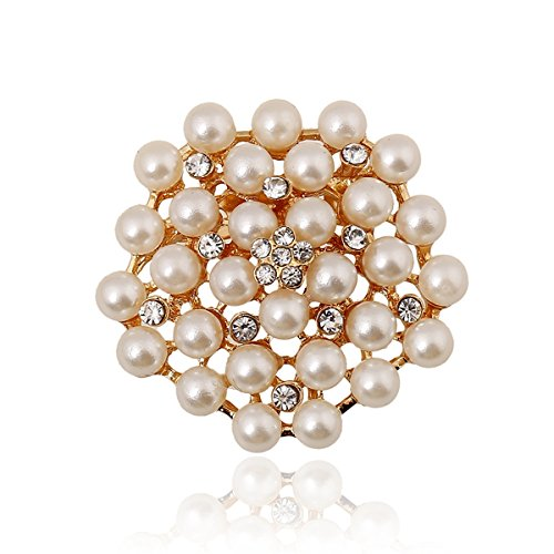 [Elegant Gold Tone Pearls Floral Rhinestone Brooch Pin Women Jewelry Sweater Shawl Scarf Buckle] (Peppermint Butler Costume)
