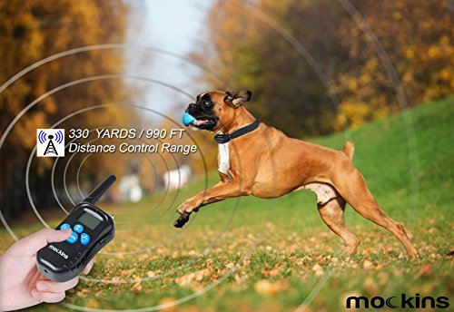 Mockins 100% Rainproof Rechargeable Electronic Remote Dog Training Shock Collar Beep Vibration - E-Collar 330 Yards (990 ft) Distance … … … … … … by Mockins (Image #2)