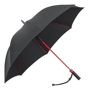 PLEMO Parapluie de Golf Noir avec 8 Baleines Rouge en Fibres de Verre Incassable et Tissu 210T hydrophobe Anti Vent Grande Taille 120cm de Diamètre