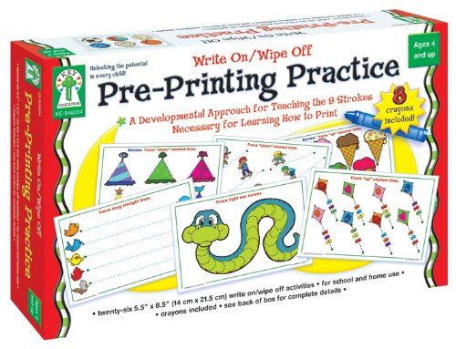 Carson-Dellosa Key Education Pre-Printing Practice Write On/Wipe Off (846034) 26 Activities (Special Education Materials)