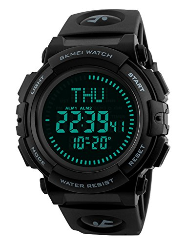 Price comparison product image Men's Military Sports Digital Watch With Survival Compass 50M Waterproof Countdown 3 Alarm Stopwatch (Black)