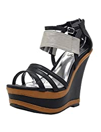 Top Moda Women's Strappy Open Toe Platform Wedge Green