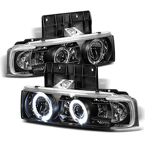 ACANII - For 1995-2005 Chevy Astro 95-05 GMC Safari LED Halo Ring Black Housing Projector Headlights Headlamps Assembly