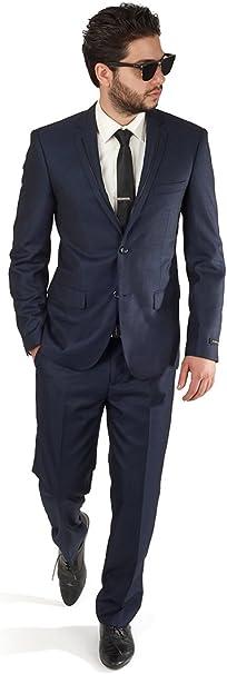 Amazon.com: Slim Fit Azul Marino Tuxedo Fashion Suit con ...