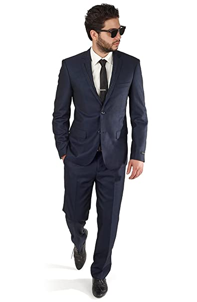 Amazon.com: Slim Fit Azul Marino Tuxedo Fashion Suit con ...