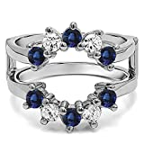 TwoBirch Sterling Silver Genuine Sapphire Sunburst Style Ring Guard with Gorgeous Round Stones with Diamonds (G-H,I2-I3) and Sapphire (0.2 ct. tw.)