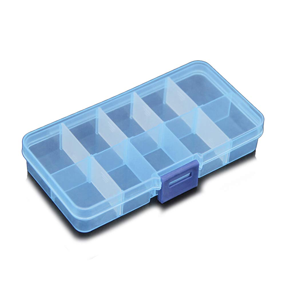 TIMLand Clear Plastic Storage Box, 10 Compartments Small Durable Small Accessories Container for Beads Earring Jewelry - Blue by TIMLand (Image #4)