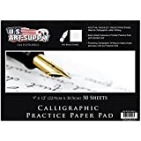 """U.S. Art Supply 9"""" x 12"""" Premium Calligraphic Practice Paper Pad, 19 Pound Bond (70gsm), Pad of 50-Sheets, Calligraphy Paper with Printed Practice Rule and Slanted Grid"""