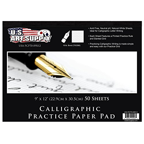"U.S. Art Supply 9"" x 12"" Premium Calligraphic Practice Paper Pad, 19 Pound Bond (70gsm), Pad of 50-Sheets, Calligraphy Paper with Printed Practice Rule and Slanted Grid"