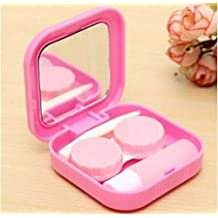 Color: Pink, Portable Cute Travel Contact Lens Case Eye Care Kit Holder Mirror Box by STCorps7