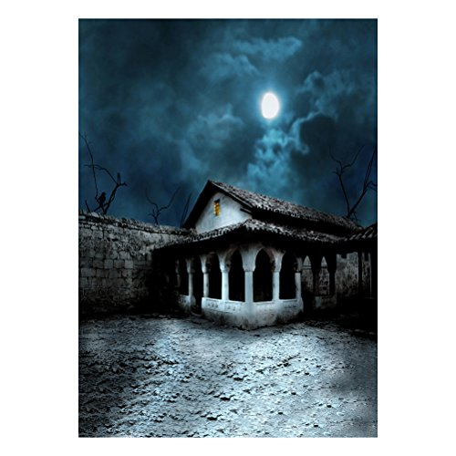LEDMOMO 90150cm Photo Background, 3D Halloween Creepy Backdrop Horror Night Haunted House Photo Background for Parties Photography Studio Photo Booth (DZ-761)]()