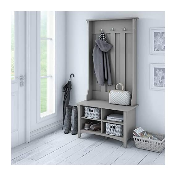 UNIVERSAL LTD Hall Tree with Storage Bench Shoe and Coat Rack in Cape Cod Gray Entryway Storage Organizer Easy Assembly (Cape Cod Gray) - ✅ FIRST IMPRESSIONS MATTER: Bring your guests to your home with a cheerful Welcome! Take off their coat and hang it on your new coat rack in the hallway; the exciting mix of classic and ancient design styles will certainly appeals your visitors. ✅ EVERYTHING UNDER ONE ROOF: This coat rack integrates a clothes rack, shoe rack and storage rack all in one unit; coat, boots, bag and keys are always at hand with easy access. Finished in Antique White with a slightly distressed touch, the country feel of the Hall Tree with Storage Bench looks great even beyond your entryway. A pair of adjustable shelves hold various items in any space, including a bedroom, dorm or hallway. ✅ BUILT TO LAST: The combination of a sturdy frame, sustainable and durable engineered wood constructions ensures a high stability of the coat rack even when loaded with heavy winter jackets; anti-tip kit for extra support. Tapered legs, a curved base and decorative wood detailing complement the casual homes of today. - hall-trees, entryway-furniture-decor, entryway-laundry-room - 51f9ptmIoRL. SS570  -
