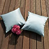 PONY DANCE Decor Sofa Throw Pillow Covers Square Light Weight Dyed Stripes Pillowcases European Home Brighten Cushion Covers Bed Hidden Zipper, Light Blue, 26'' 26'', Set of 2