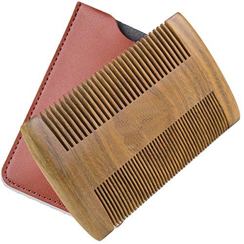 BEAKEY Wooden Beard Comb Pocket Comb For Mustache & Hair Handmade Green Sandalwood Comb- Fine & Coarse Teeth