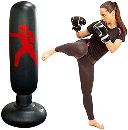 160cm Inflatable Boxing Punching Bag Stand Kick Fitness Training With Air Pump