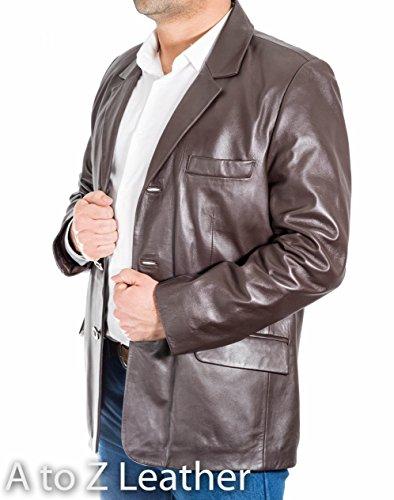 Cuir Džcontractž Brun Blazer Amžnagže Tailored Des Classique Trois Foncž De Hommes Bouton Chic wUnvxAqI