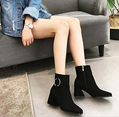 Mujeres Square Toe 4.5cm Chunkly Heel Martin Boots Metal Buckle Zipper Dress Boots Knight Boots Casual Boots Eu Tamaño 34-40 Black seude