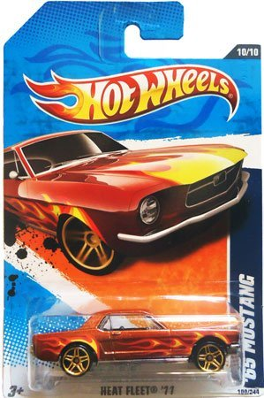 Hot Wheels 2011 Heat Fleet 1965 Ford Mustang Copper Red with Flames and Opening Hood Hot Wheels Fire Rods