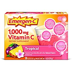 Emergen-C Dietary Supplement Drink Mix with 1000 mg Vitamin C, 0.32 Ounce Packets, Caffeine Free (Tropical Flavor, 30 Count)