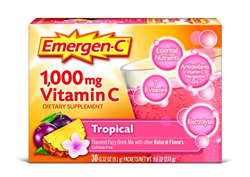 Emergen-C (30 Count, Tropical Flavor) Dietary Supplement Drink Mix with 1000 mg Vitamin C, 0.32 Ounce Packets, Caffeine Free