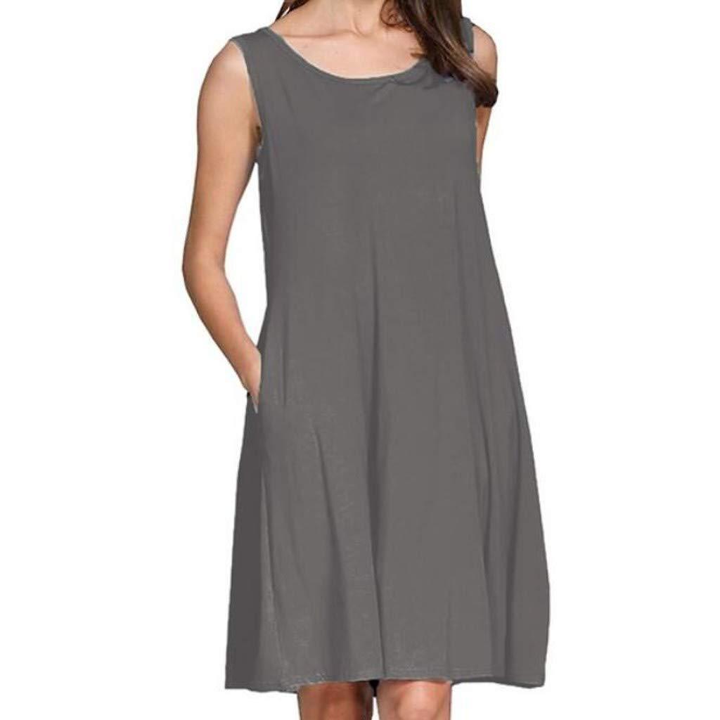 Damen Kleider Vestkleid Casual Loose Sommerkleid Ärmellos Longshirt Tanktops Maxikleid Strandkleid Freizeitkleid