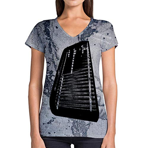 Idakoos Instruments Cimbalom 3D - Women V-Neck T-Shirt Polyester Novelty (Cimbalom Instruments)
