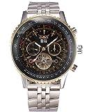 GuTe Pro Mens Tourbillon Mechanical Watch Tachymeter Day Date Month Wristwatch (Black)