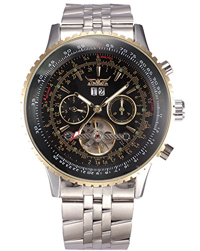 GuTe Pro Mens Tourbillon Mechanical Watch Tachymeter Day Date Month Wristwatch (Date Tachymeter)