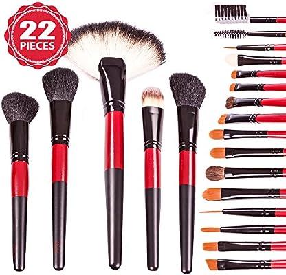 Juego de cepillo de maquillaje profesional kit de pinceles de 22 W/caso de primera calidad – . Kabuki Cara Cepillo Roll. Mejor para Todos los cosméticos: Mineral polvo Fundación Blending Cepillos: Amazon.es: