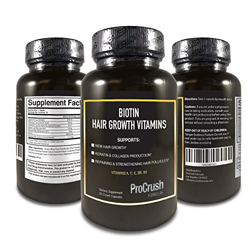 Biotin Growth Support Vitamins- Grow Longer, Fuller, Thicker, Healthier Hair, Nails & Skin for Both Men & Women