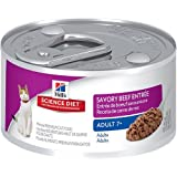 Hill's Science Diet Adult 7+ Savory Beef Entree Minced Cat Food, 3-Ounce Can, 24-Pack