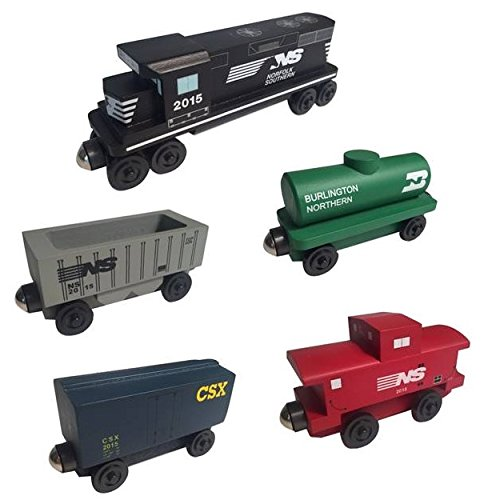Whittle Shortline Railroad - Manufacturer Norfolk Southern Railway GP-38 Diesel 5pc. Set - Wooden Toy - Freight American Car